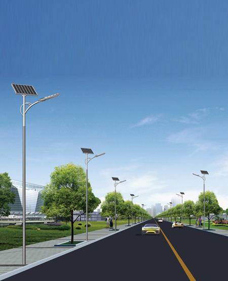 城市9米单臂太阳能路灯
